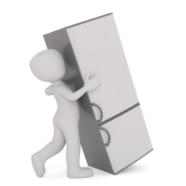 Grafik Figur mit Kühlschrank
