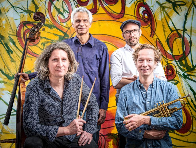Jens Düppe Quartett, Links unten, Jens Düppe, Rechts, Fred Köster,oben links Christian Ramond, Lars Düppler , rechts oben, Siegburg 13.5.2021