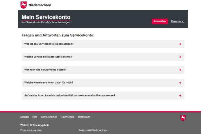 Bildschirmdruck Serviceportal Niedersachsen